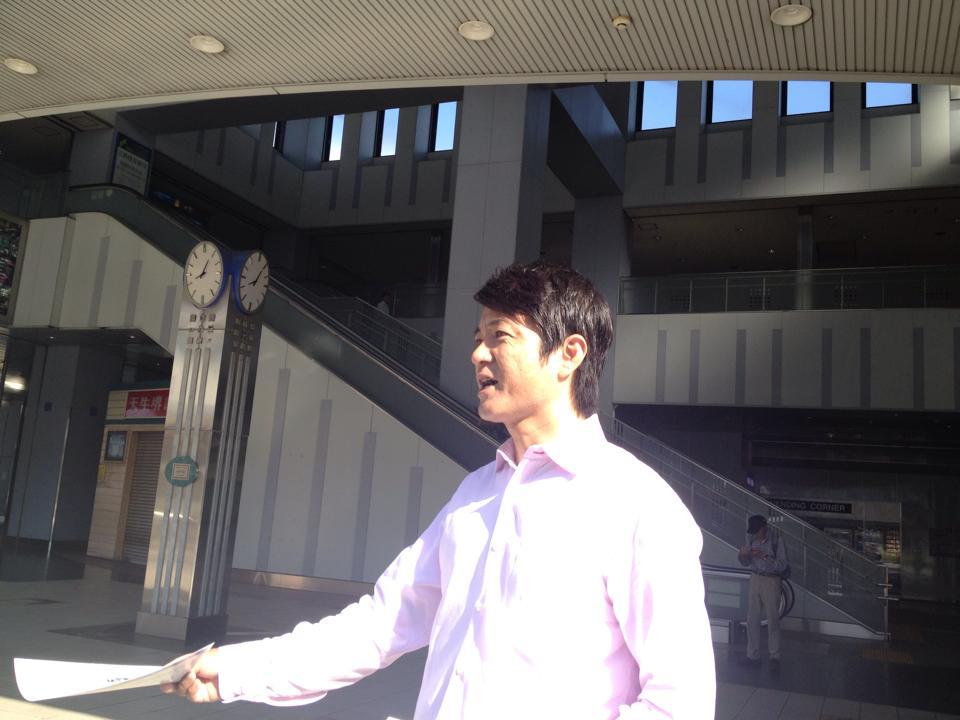 和泉中央駅立ち20140716_森かずとみ1